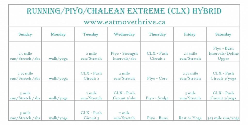 Running/Piyo/ChaLean Extreme Hybrid Workout Calendar