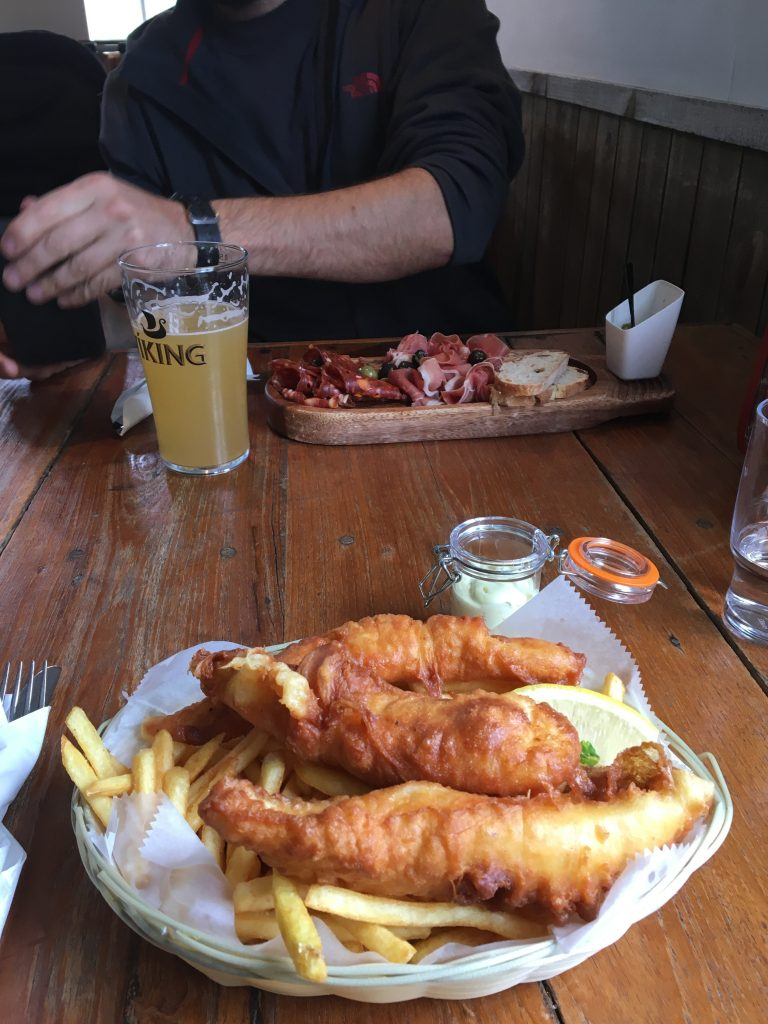 "Fish and Chips for me and a ""bar snack"" plate for Josh"